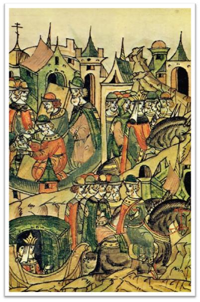 Слева в верхнем углу сцена ослепления Василия II